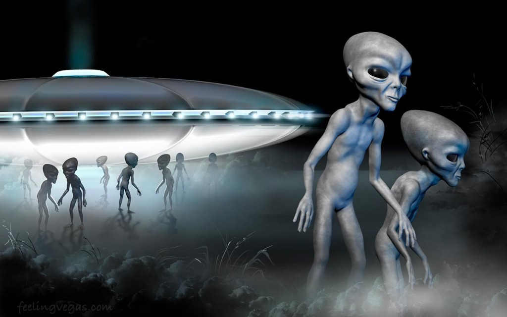 aliens and flying saucer