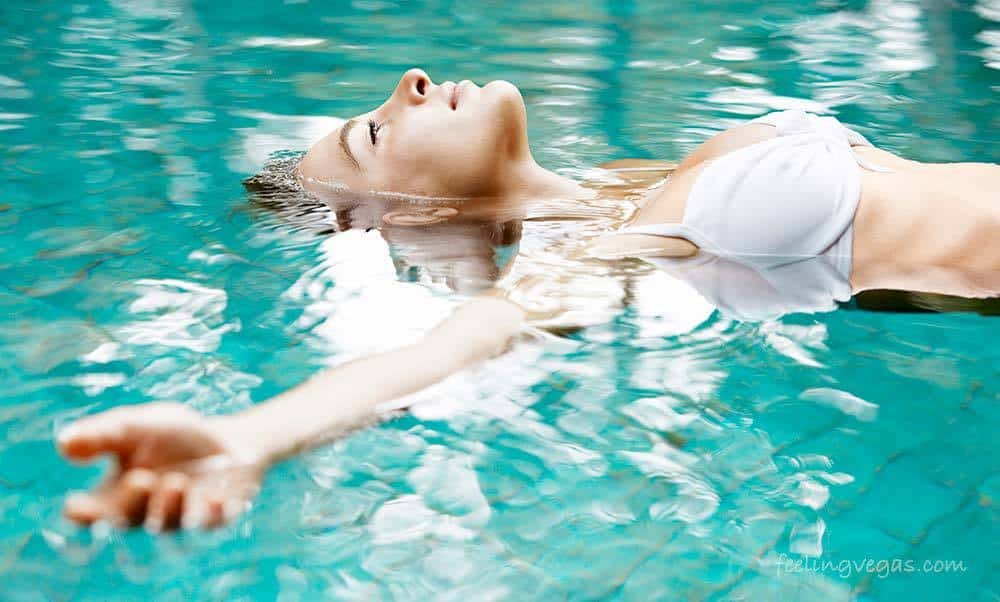 Woman floating in a spa pool in Las Vegas