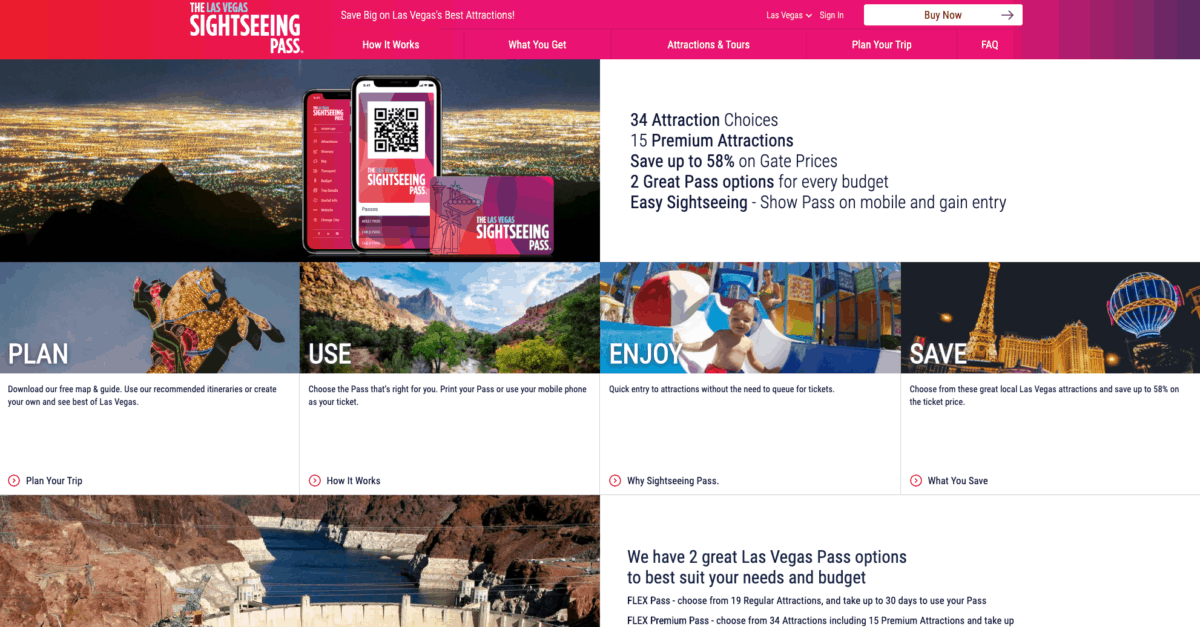 Las Vegas' Sightseeing Pass Website