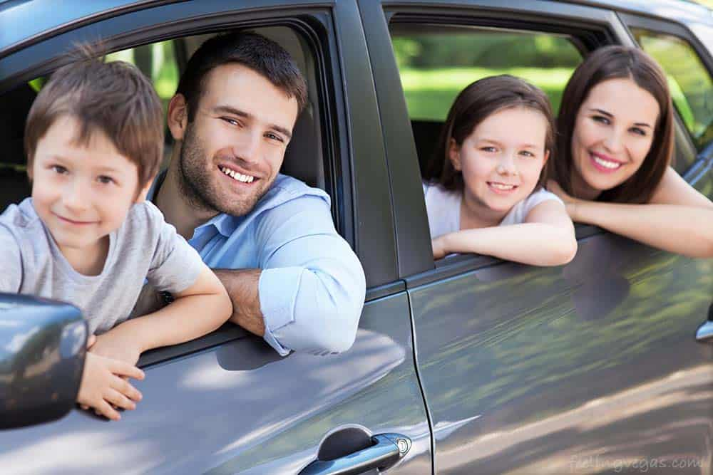 Family of four in a car