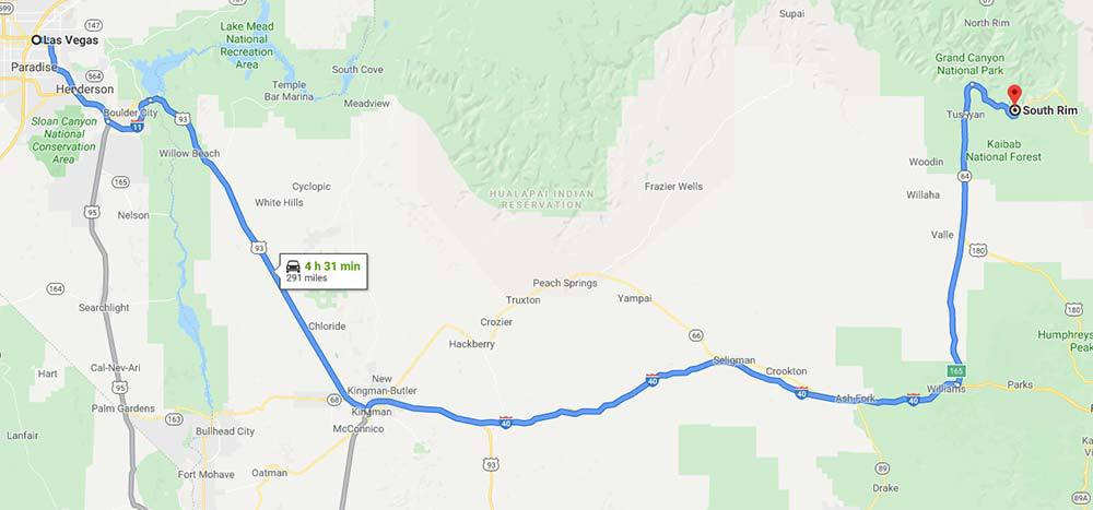 Google map of the route you'll most likely take from Las Vegas to the Grand Canyon