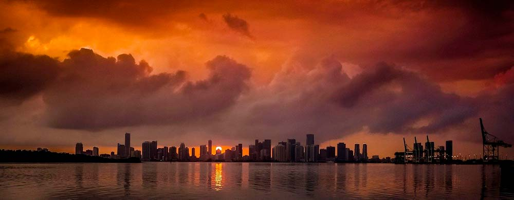 Miami downtown skyline at sunset