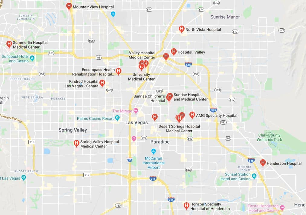 Map of hospitals in the Las Vegas Valley.