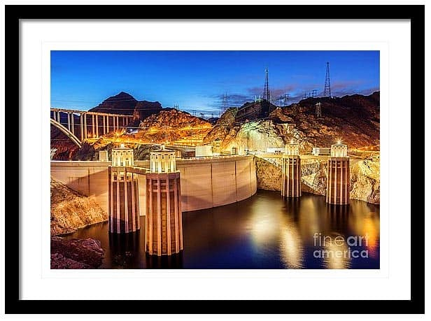 Matted and Framed image of Hoover Dam near Las Vegas. Photograph by Bryan Mullennix