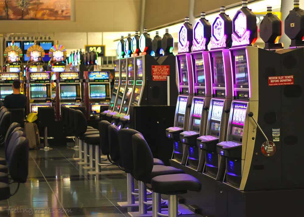 Slot machines greet you as soon as you step off the plane at McCarran Airport in Las Vegas