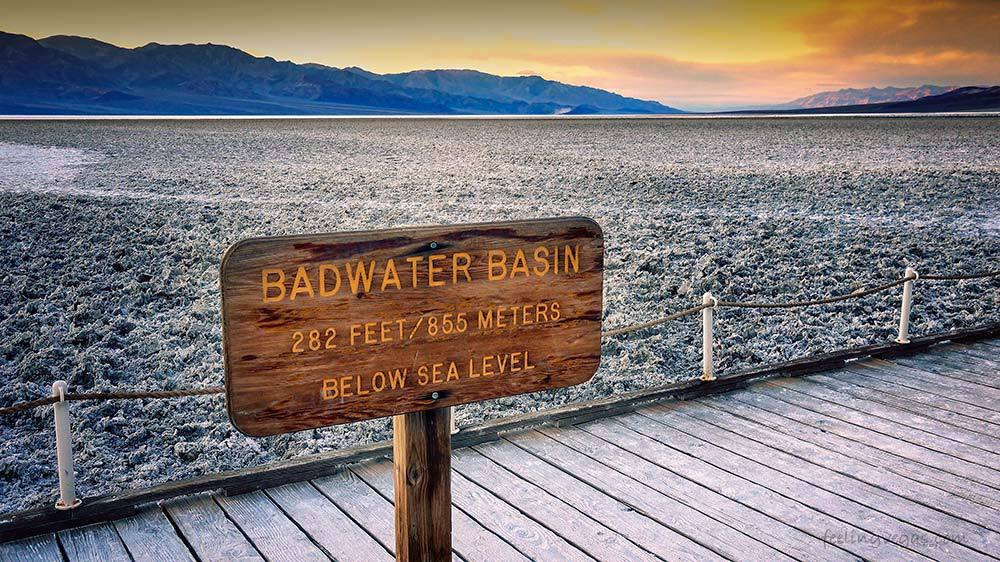Below sea level at Badwater Basin in Death Valley
