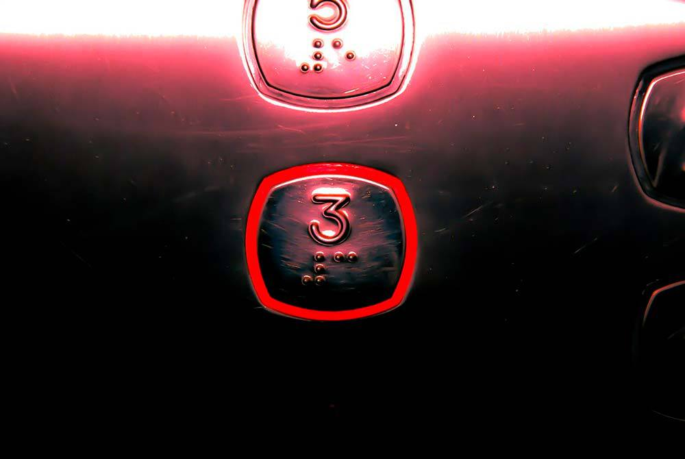 Elevator buttons missing the fourth floor