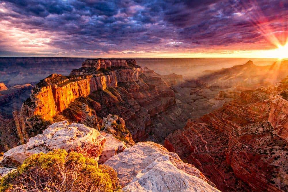 Sunset at the North Rim from Cape Royal overlook. The North Rim of the Grand Canyon is a little over 4.5 hours away from Las Vegas.