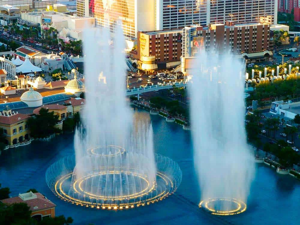 Looking down on the Bellagio Fountains