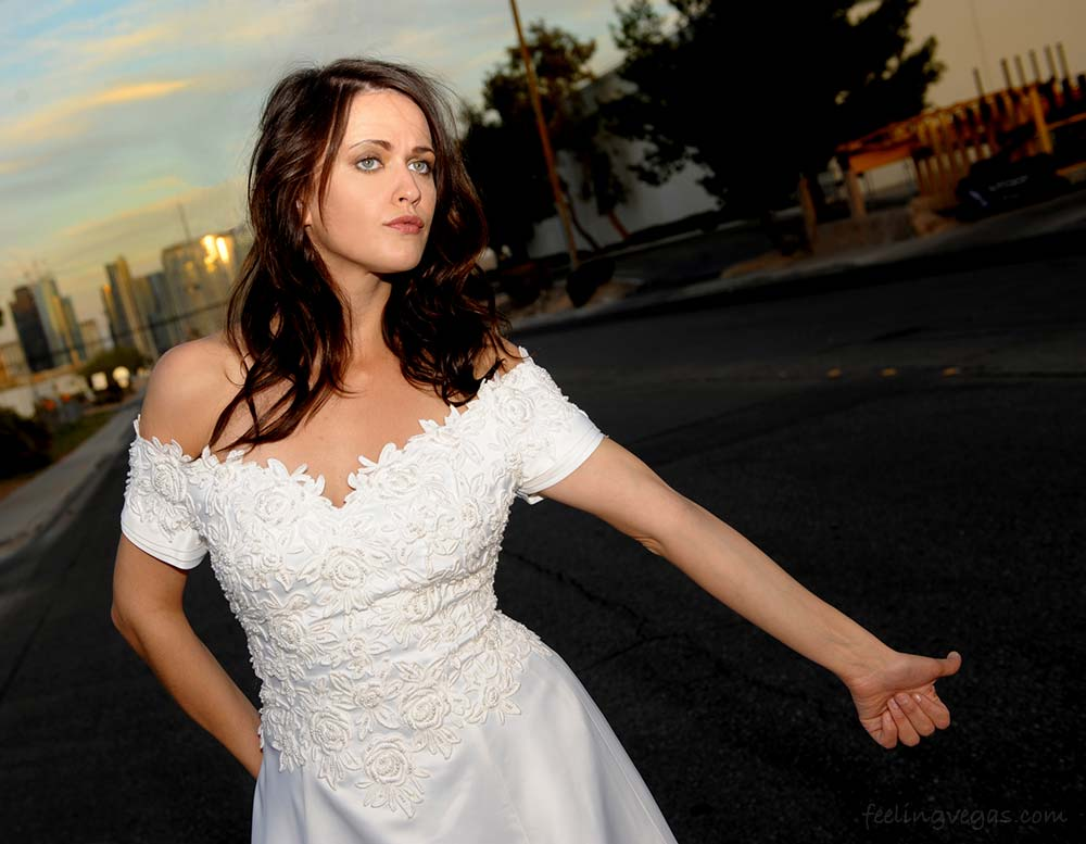 Marriage annulment in Las Vegas. A bride hitch hiking.