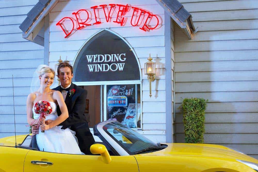 Are Las Vegas weddings legal? A drive up wedding in Las Vegas.