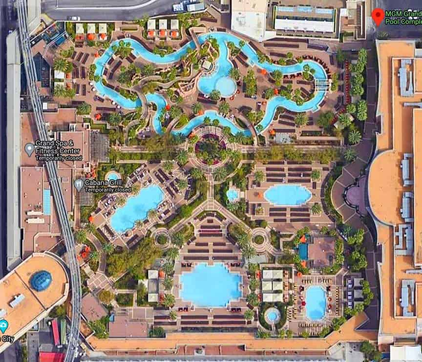 Aerial view of the MGM Grand Pool Complex
