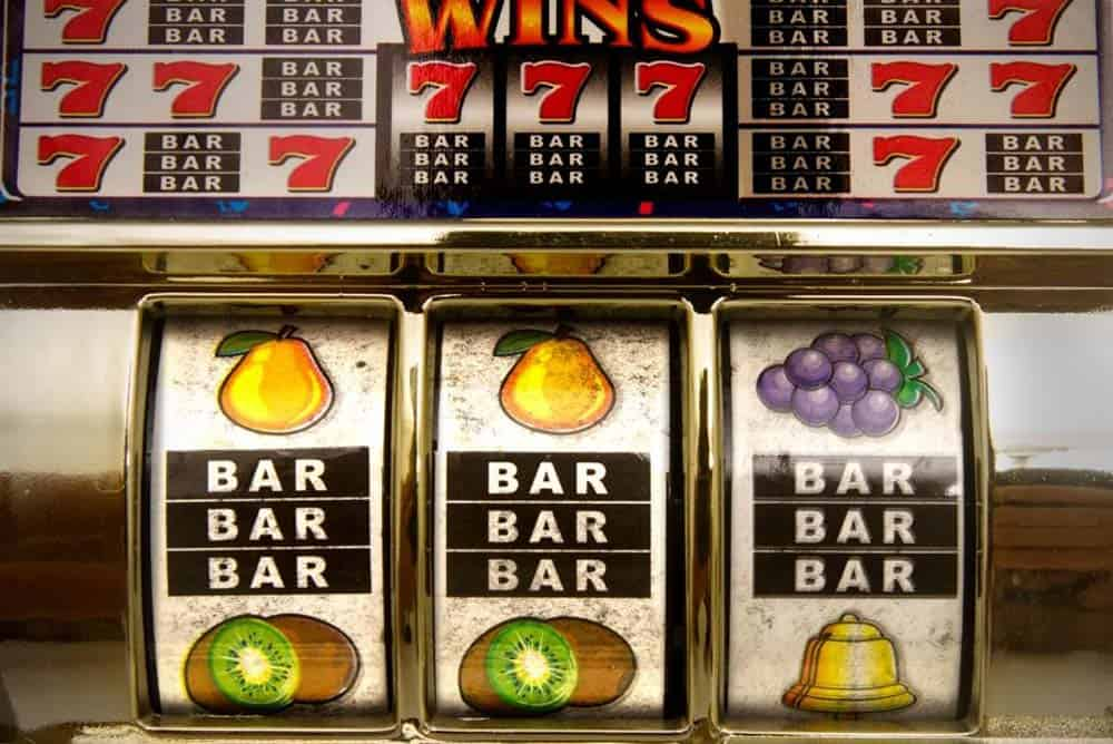 Close-up of slot machine on casino floor