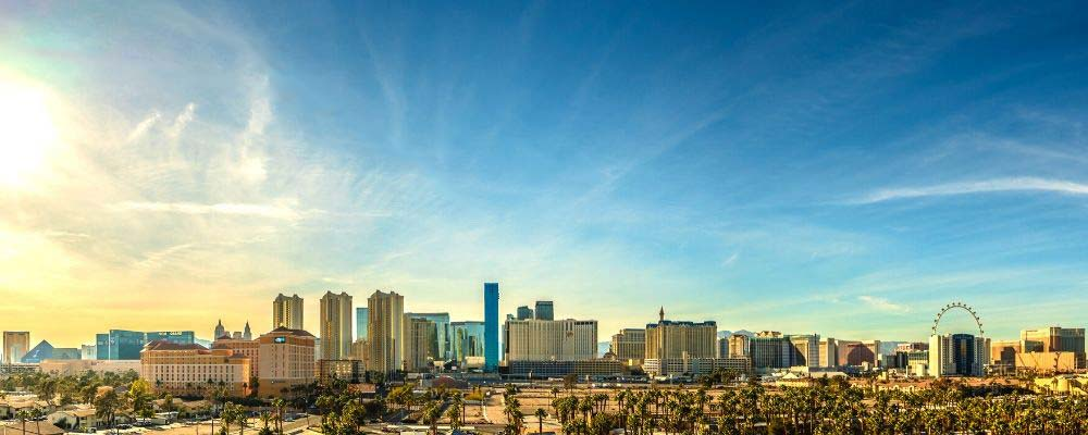 Skyline view of the Las Vegas Strip during the day.