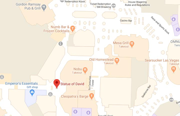 Map showing statue of David location inside of Caesars Palace