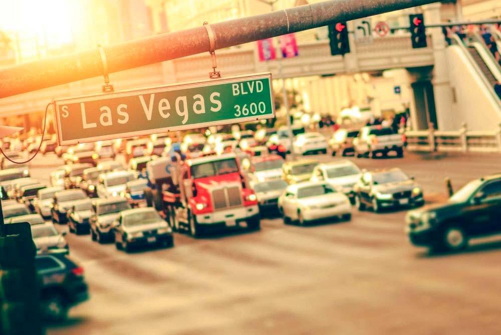 Heavy traffic on the Las Vegas Strip
