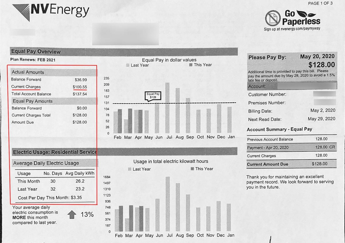 Las Vegas electric bill for the month of April.