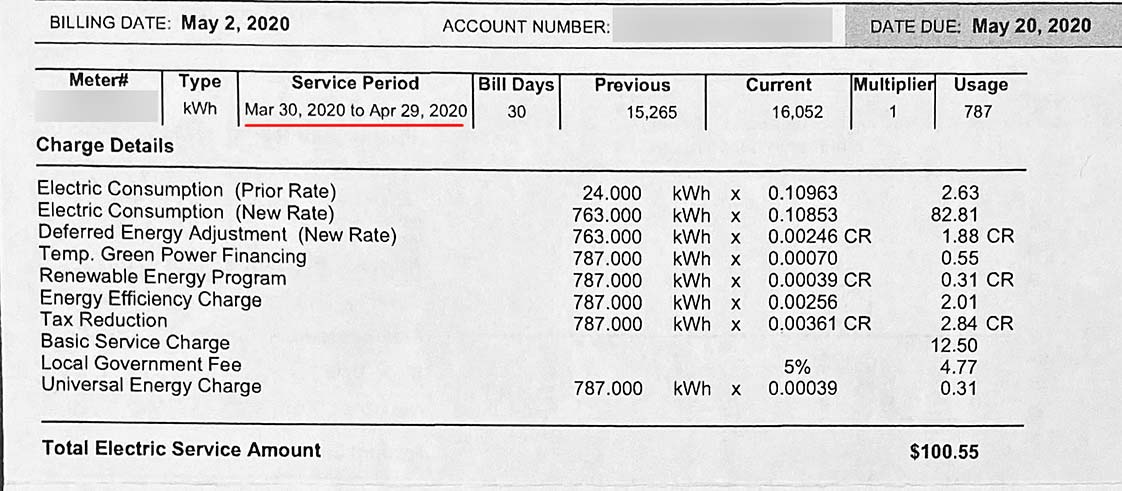 Electric rates and service fees for April