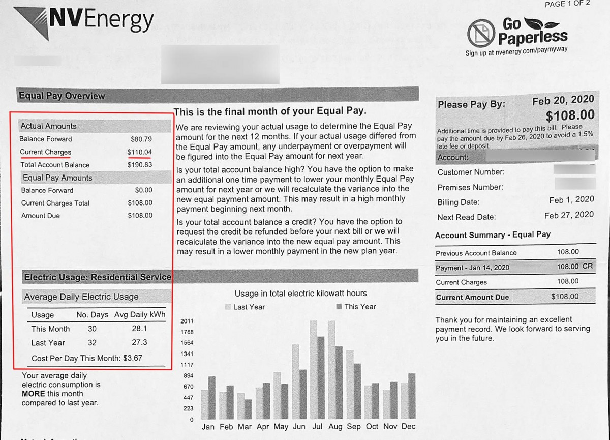 Las Vegas electric bill for the month of January.