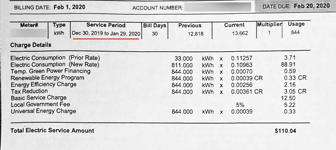 Usage, rates and service fees on our January Las Vegas electric bill.