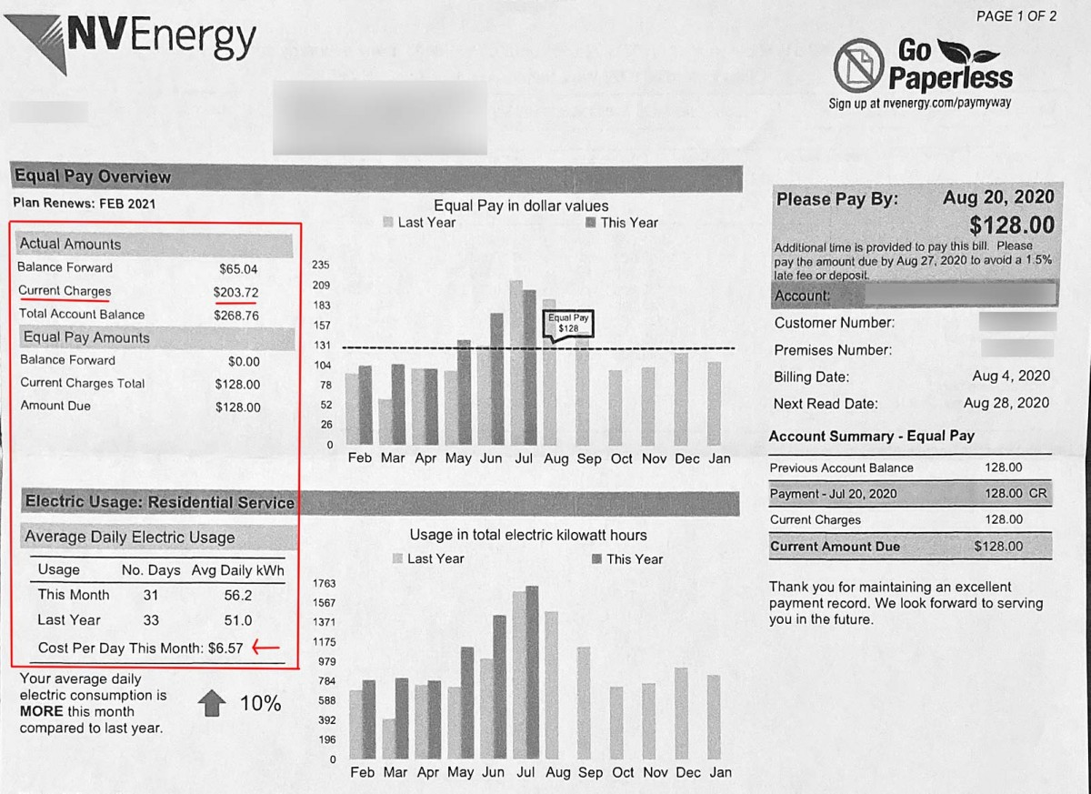 Our Las Vegas electric bill during summer in July