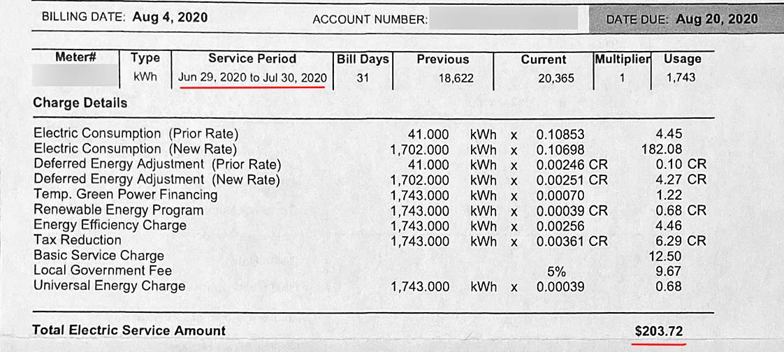 July electric usage in Las Vegas