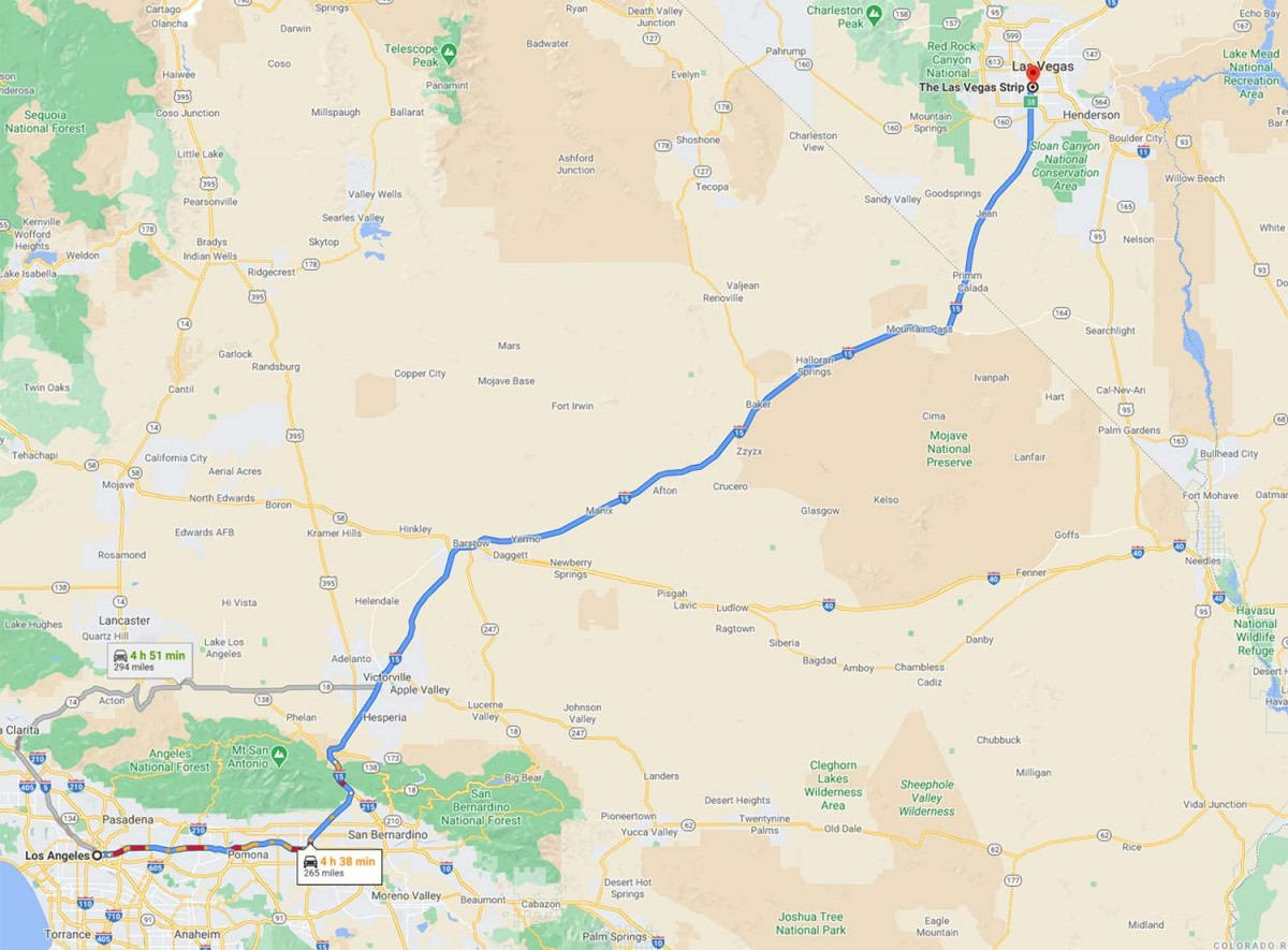 Map showing driving route and time from Los Angeles to Las Vegas