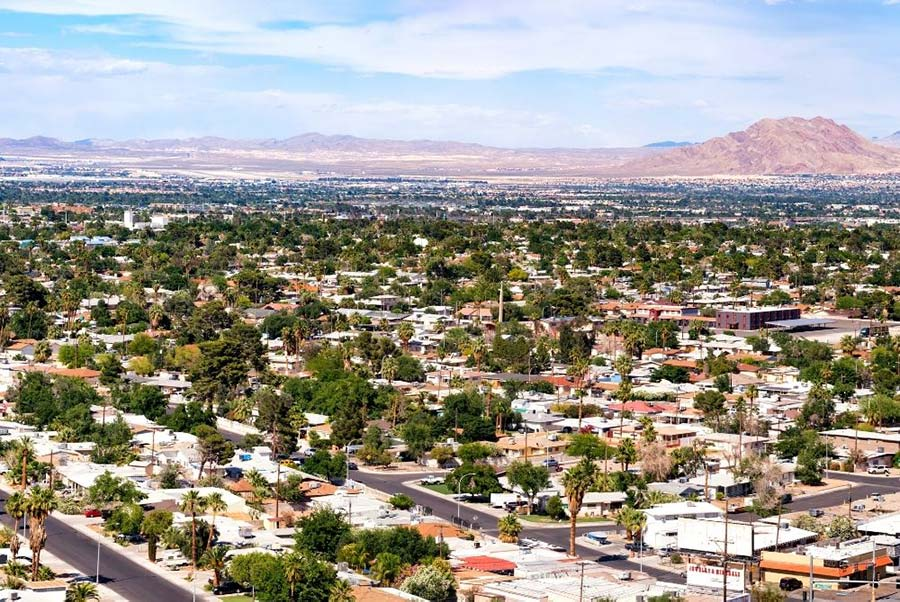 An aerial of a Las Vegas neighborhood.