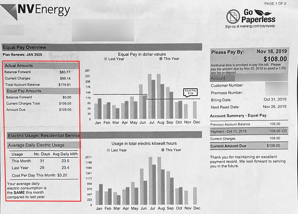 Our Las Vegas NV Energy electric bill in October (Fall)