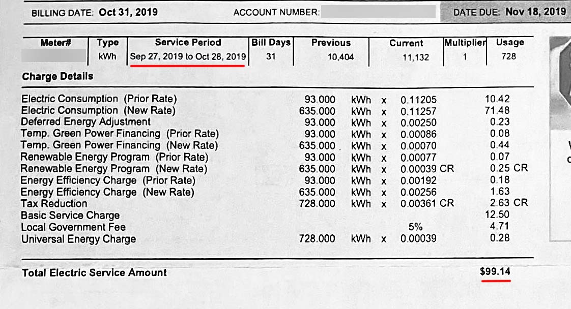 NV Energy electricity bill usage, fees and taxes information.