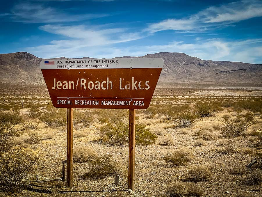 Jean Roach Dry Lake Beds entrance sign.