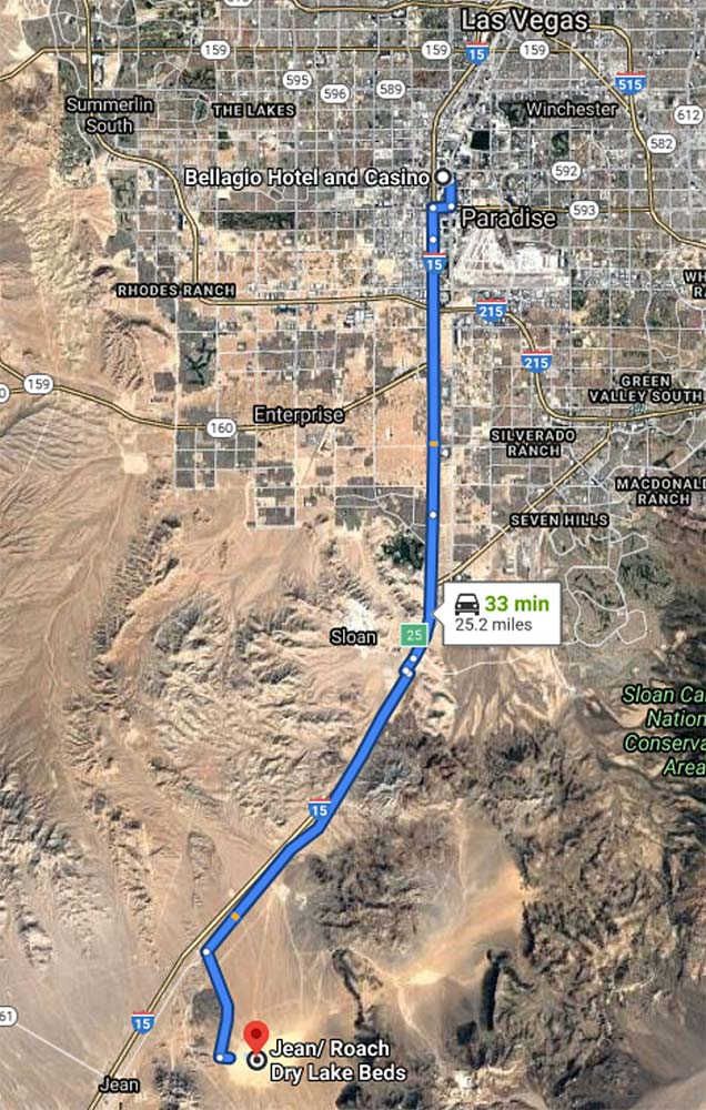 Map showing route from Las Vegas to Jean/Roach Dry Lake Beds entrance.