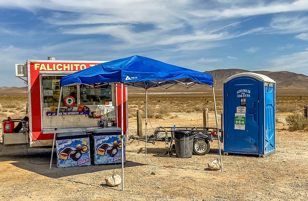 Food and restrooms at Seven Magic Mountains near Las Vegas