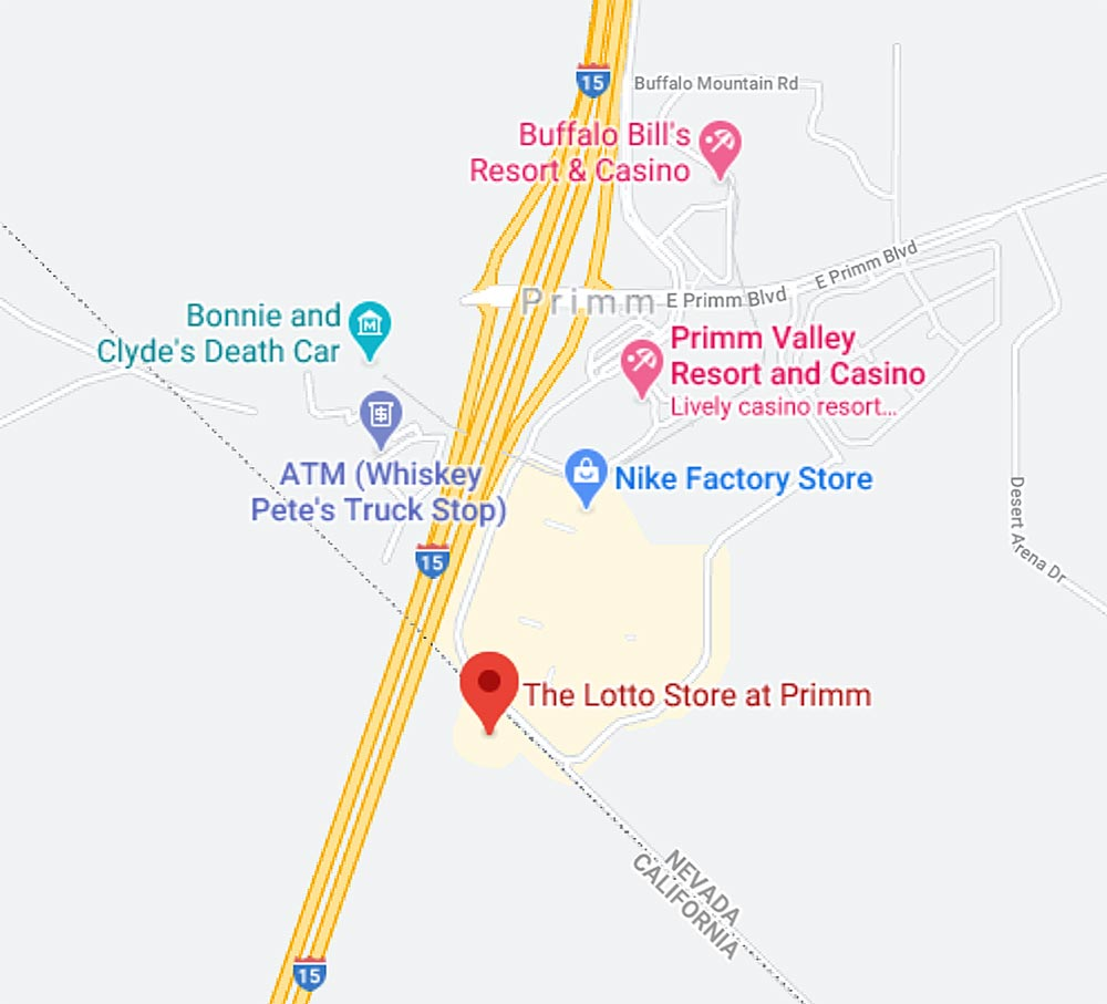 Primm Lotto Store directions and map.