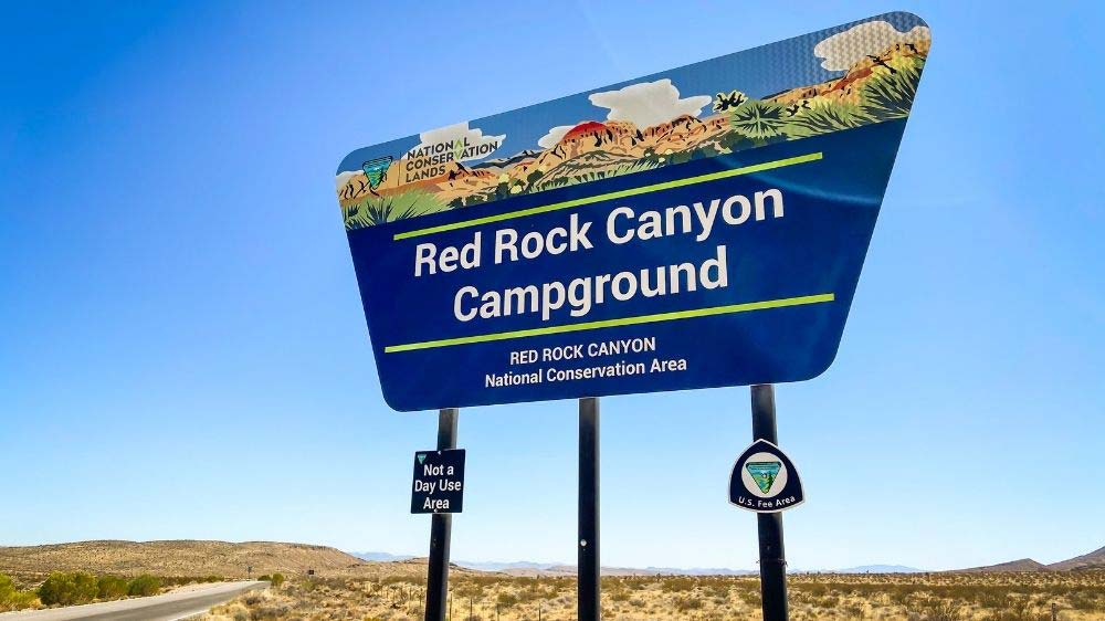 Red Rock Canyon Campground entrance sign.