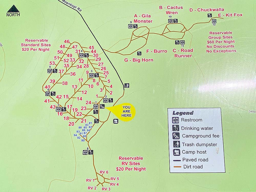 Map of camping spots at Red Rock Canyon Campground