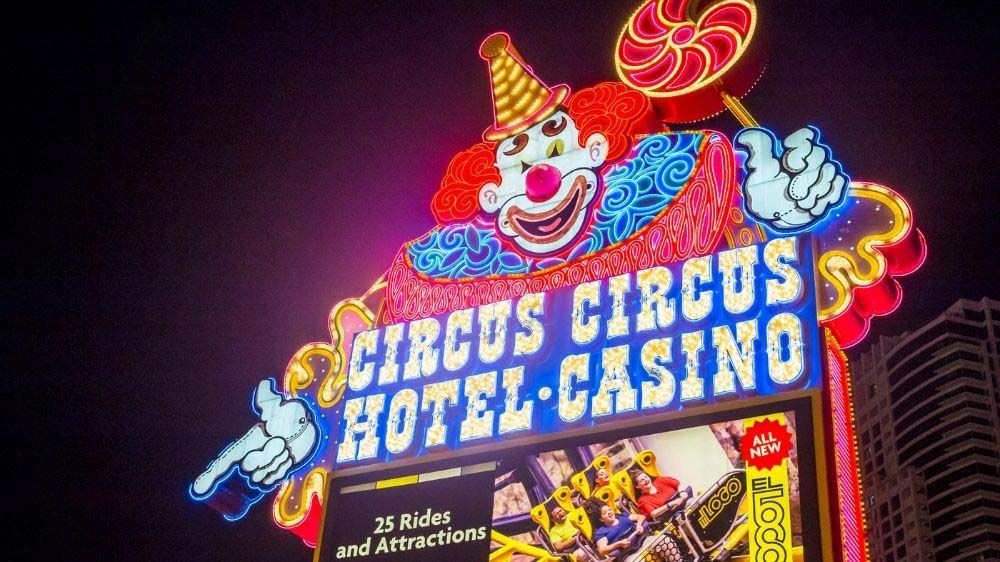 The neon sign in front of Circus Circus.