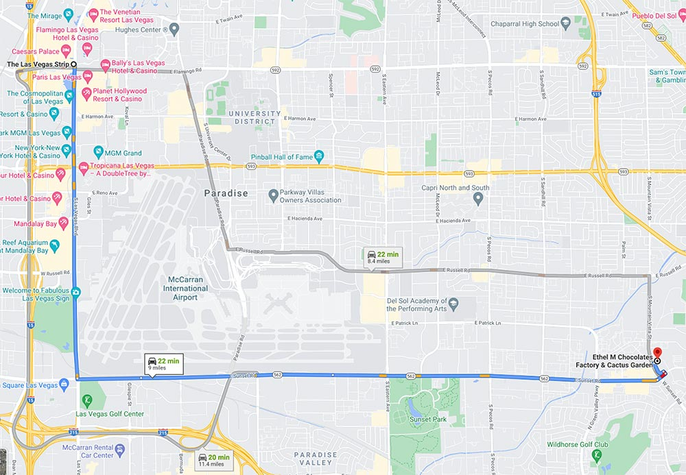 Map showing route from the Las Vegas Strip to the Ethel M Chocolate Factory