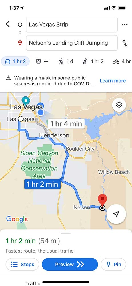 Map showing time and distance to Nelson's Landing from the Las Vegas Strip.