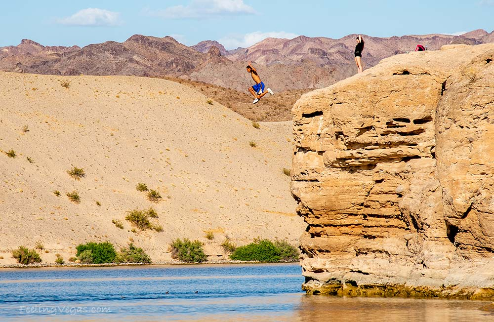 Man jumping off cliff into Colorado River at Nelson's Landing cliff jumping area.
