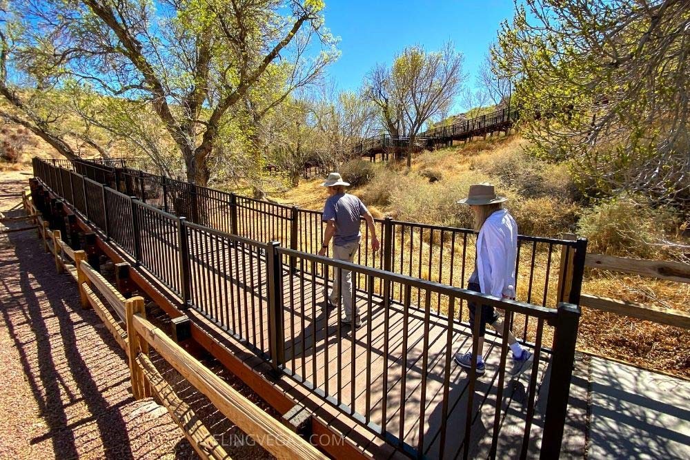 Red Spring boardwalk in Red Rock Canyon Conservation Area in Las Vegas.