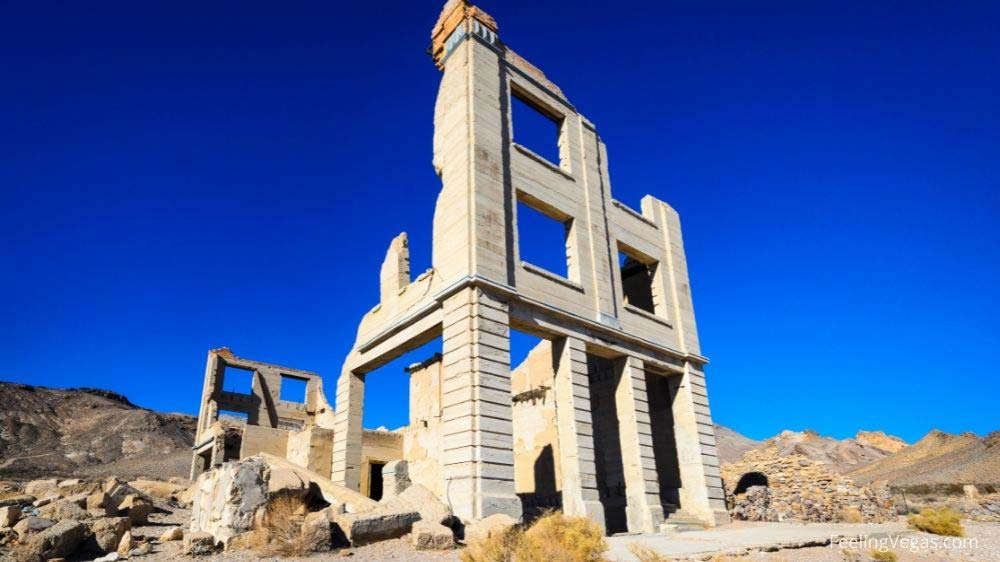 Concrete building in Rhyolite ghost town.