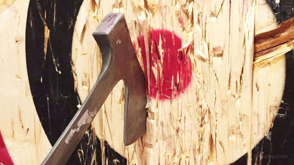 Axe throwing is a fun thing to do in Vegas!
