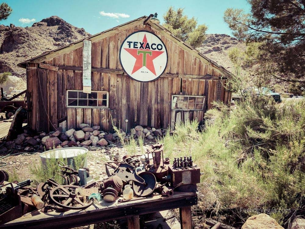 Texaco sign on building in Nelson ghost town Nevada.