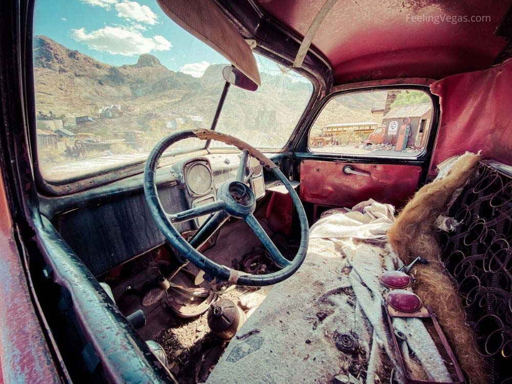 Interior of abandoned truck in Nelson ghost town.