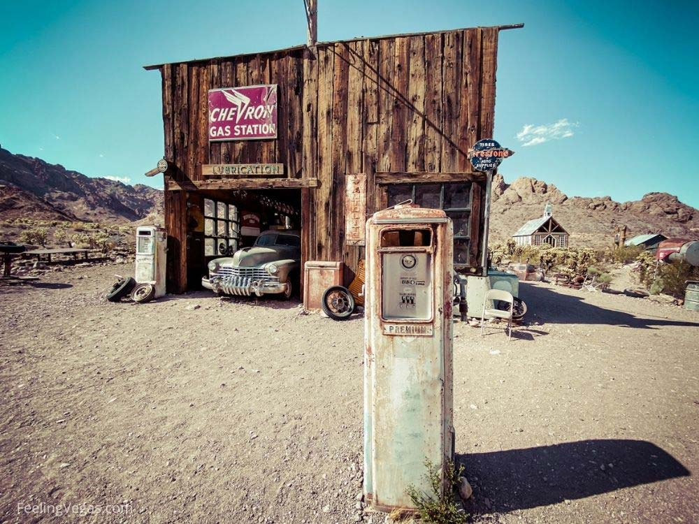 Vintage gas pump in Nelson ghost town.