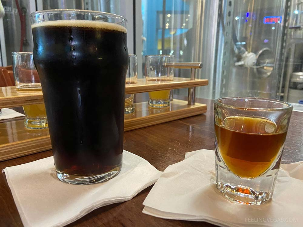 Strong ale beer shot and a pint of Brown Ale at Banger Brewing Las Vegas.