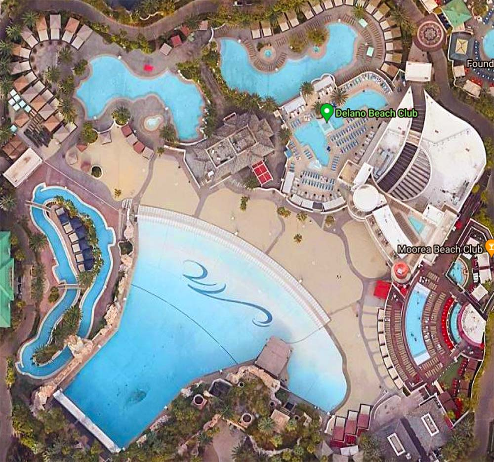 Aerial view of Mandalay Bay Beach pool deck and lazy river.