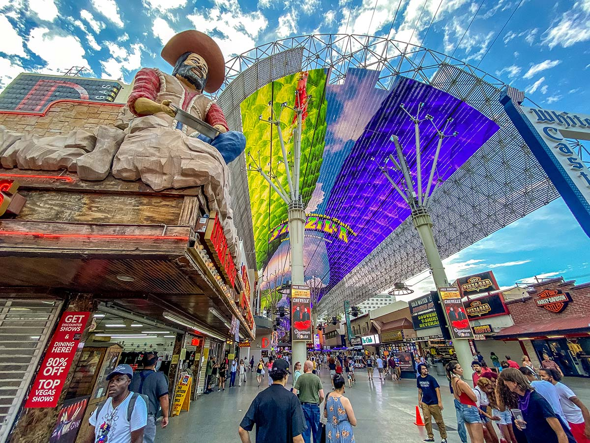 Daytime at the Fremont Street Experience in downtown Las Vegas.