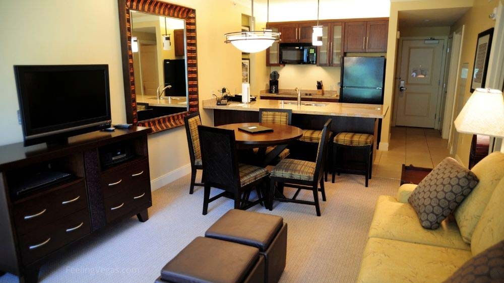 Hotel room suite with kitchen in Las Vegas.